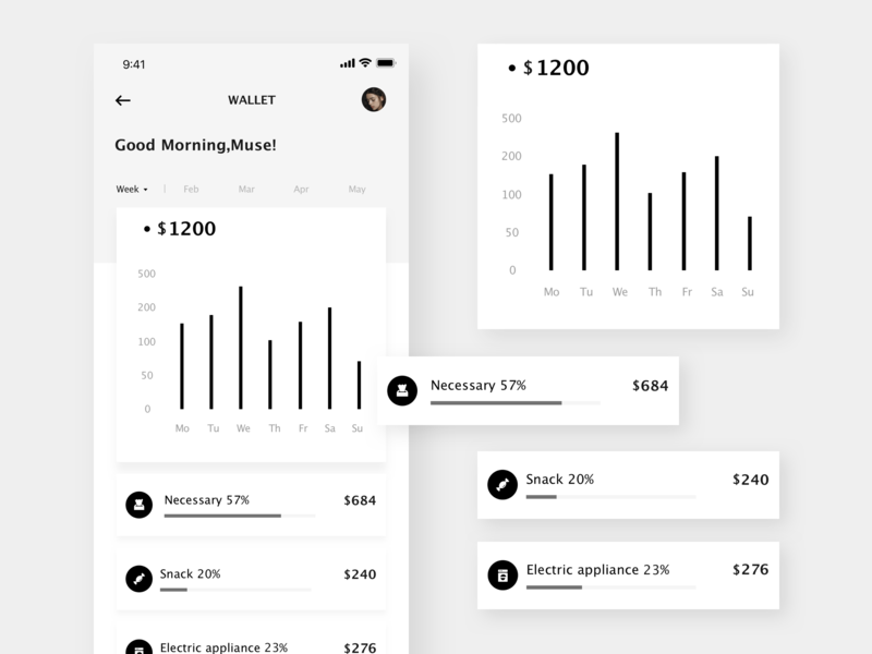 MUSETY App elegant shopping wallet statistic bill form data chart black and white concise kit art app clean mobile app design ui