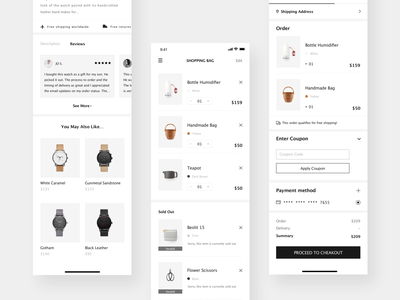 MUSETY App pay recommmend product reviews order shopping bag shopping app product minimalism shopping black and white concise clean app mobile app design ui