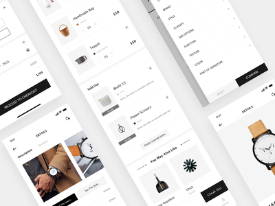 MUSETY App minimalism shopping kit black and white concise clean app mobile app design ui