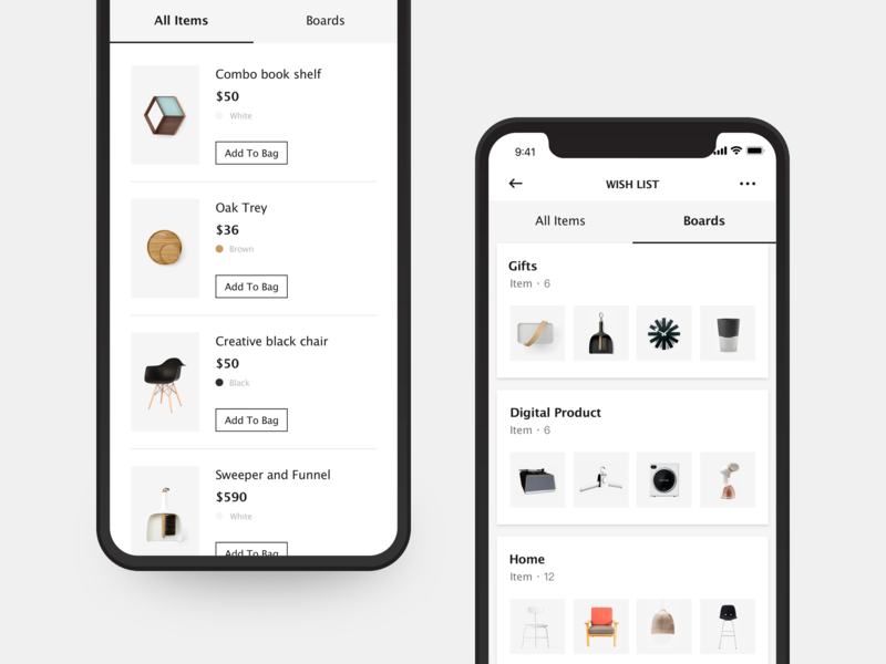 MUSETY App wish card board wish list minimalism art shopping black and white concise app clean mobile app design ui