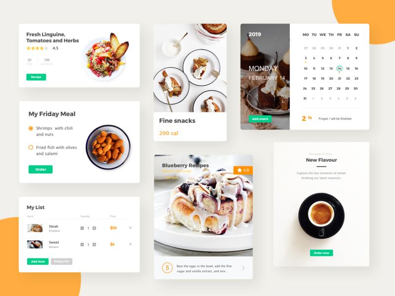 food app component cake food kit concise clean mobile app design ui