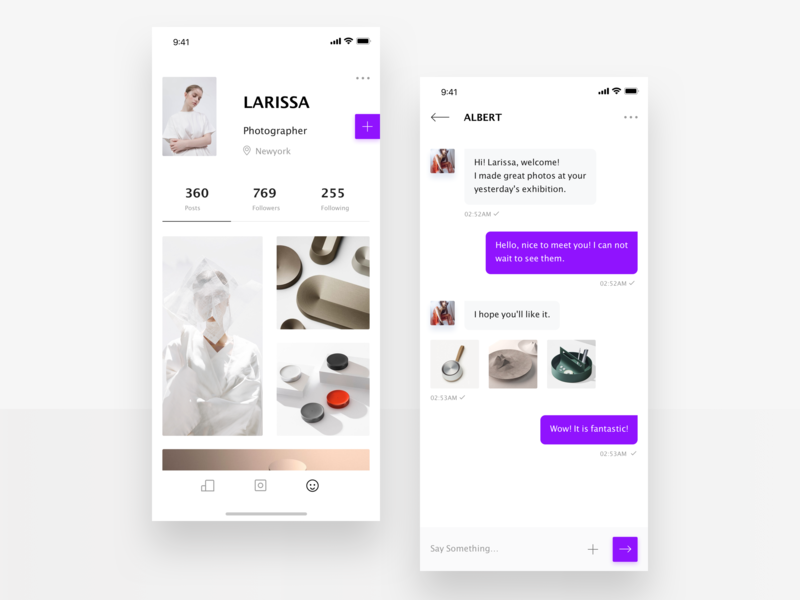 Chat social chatting personal center art minimalism concise clean mobile app design ui