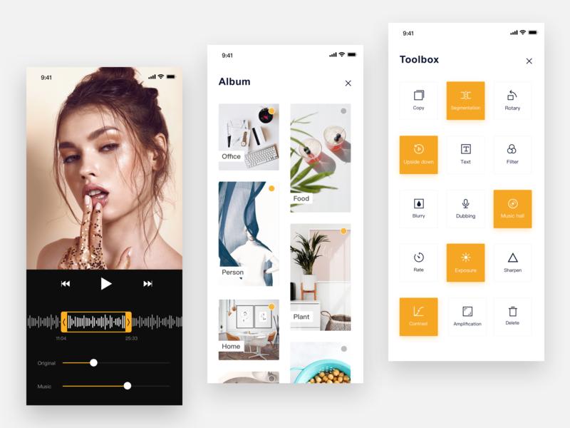 Camera app ios minimalism music toolbar album editing video camera art concise clean mobile app design ui