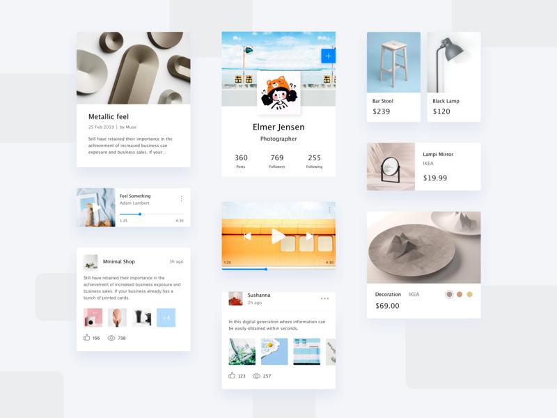 Social app product article music shopping minimalism art kit app concise clean mobile app design ui