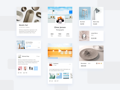 Social app product article music shopping minimalism art kit app concise clean mobile app design ui