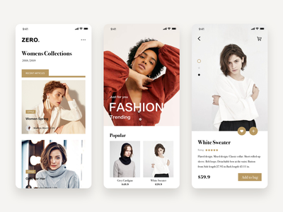 ZERO. popular design magazine fashion branding shopping minimalism art kit app concise clean mobile app design ui