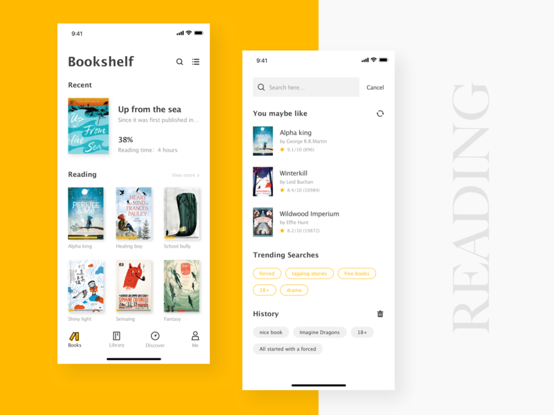 Reading Application search bookself reading book yellow color art kit app concise clean mobile app design ui