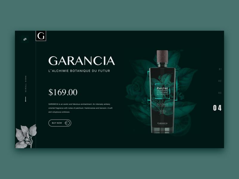 GARANCIA perfume elegant web design perfume web shopping minimalism clean art kit concise design ui