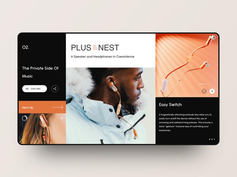 Plus/Nest 2019 web design black segmentation grid headset plusnest 2019 minimalism art kit app concise clean design ui