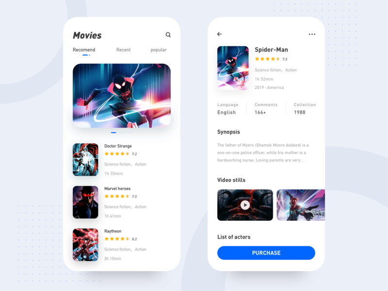 Movies app booking film movie minimalism art app mobile app concise clean design ui