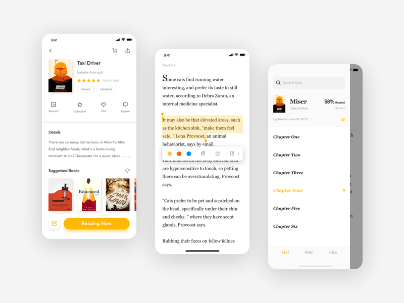 Love Reading APP label table of contents details page reading app read minimalism app kit mobile app concise clean design ui