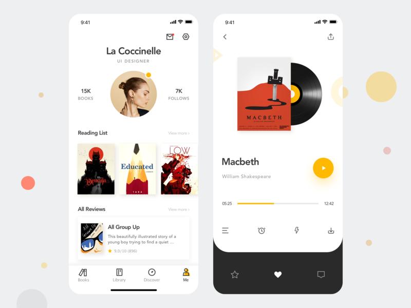 Love Reading APP 04 personal center listen read kit app concise clean design ui