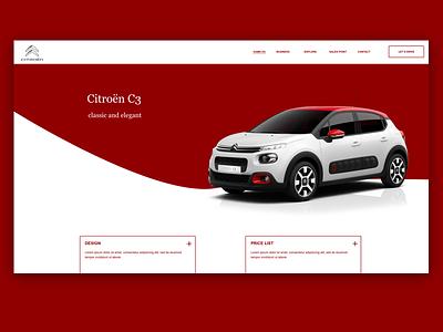 Citroen C3 Web Concept dailyui 2d illustrator citroen adobexd uiux ux ui app web