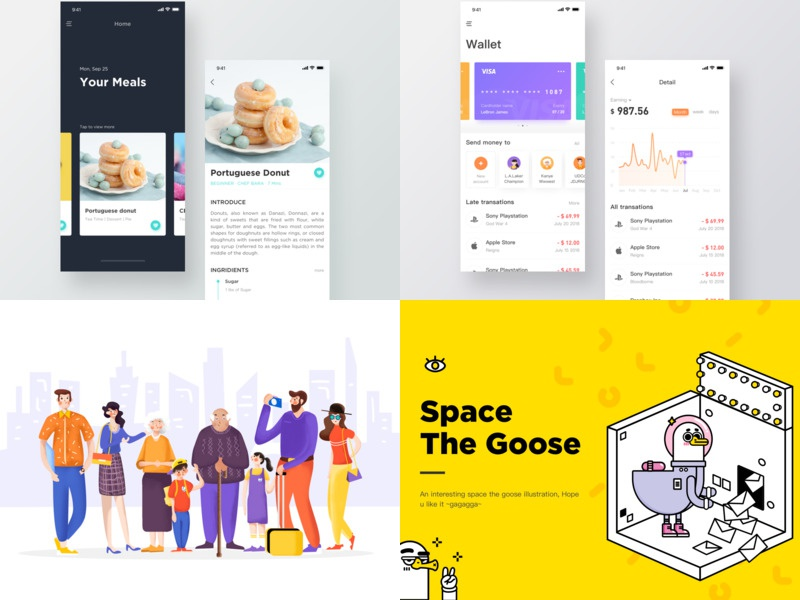 2018 illstrator illstration goose food app food financial,clean family duck character creativity card black bank app yellow white ux design ui fashion