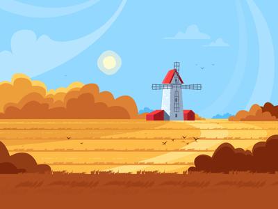 Field nature illustration windmill field