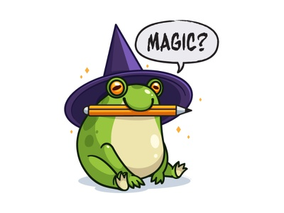 Frog pencil magic witch hat hat witch frog animal character
