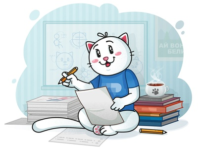 Art time cat drawing paper books tea room cat illustration character cat