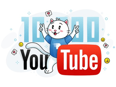 YouTube Cat - progress white smile like youtube pixel commercial character cat
