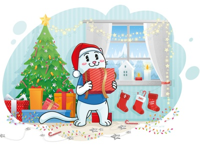 Pixel New Year winter decoration gift box gift candles snow cat kitten christmas tree happy christmas happy new year cat illustration pixel school character cat