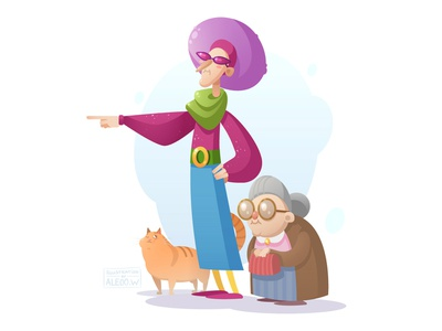 To the shopping! granny cat flat  design illustration character
