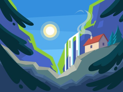 Mountain house traveling summer spot illustration cliff wood outdoors pine tree illustration landscape nature forest waterfall mountains mountain house