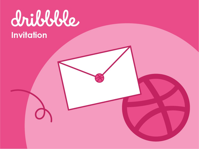 Dribbble Invitation art pink design vector designer designer for hire dribbble invite dribbble invitation illustration dribbble design art graphic  design