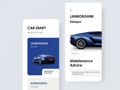 Car Diary 向量 商标 blue app car design ui