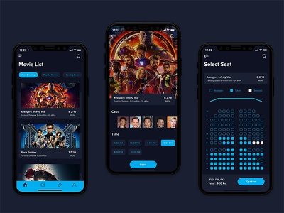 Movie Booking App ui design concept ios iphonex design checkout cinema seats available avangers list movies ticket ui online ticket booking movie booking movie booking app