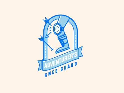 Adventurer's Knee Guard skyrim elder scrolls game logo illustration vector