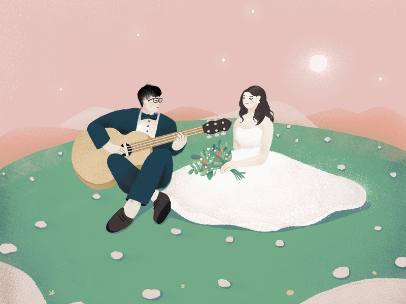 Wedding wedding card wedding dress dress music song guitar couple feast party wedding design illustration
