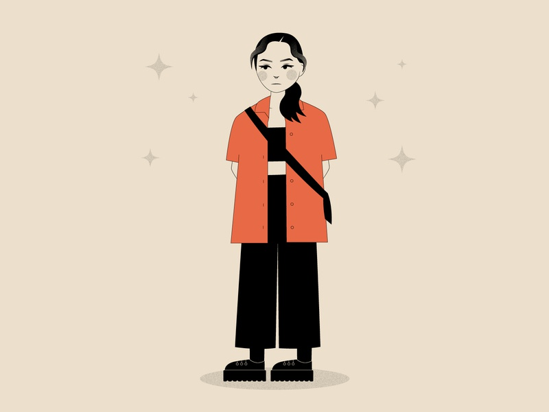 👋👋👋 ootd outfit character design character grain texture debut self portrait girl person illustration