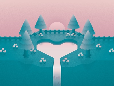 Animal Crossing Forest 01 nature video game island illustration heart lake waterfall pond forest sunset landscape texture animal crossing