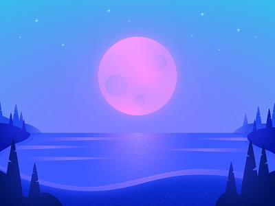 Moonlight ☾ nature grain ethereal night moonlight water lake stars forest moon landscape texture illustration