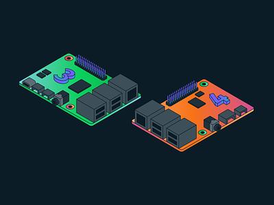 Raspberry Pis engineer computer mongodb developer illustration isometric raspberry pi