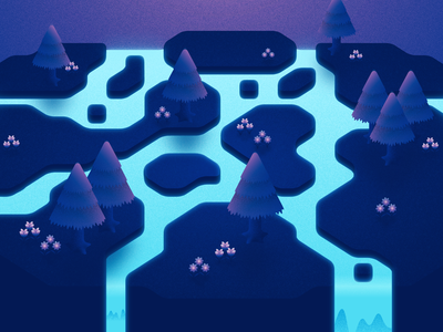 Animal Crossing Forest 02 waterfall trees water river night nature moonlight moon landscape isometric texture grain forest flowers ethereal illustration animal crossing