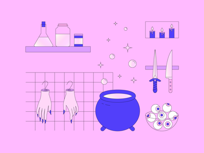 Witchy Things 01 eyeballs pastel candles severed hands knife dagger kitchenware witchcraft cooking witches brew kitchen illustration halloween witch dribbbleweeklywarmup