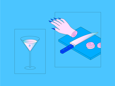 Witchy Things 02 hands eyeball kitchen cutting board knife severed hands martini illustration halloween cooking witchcraft witch dribbbleweeklywarmup