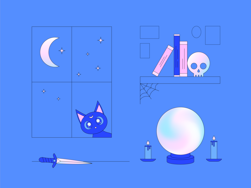 Witchy Things 03 illustration pastel gradient candles bookshelf luna magic living room dagger skull witchcraft crystal ball stars moon kitten cat halloween witch