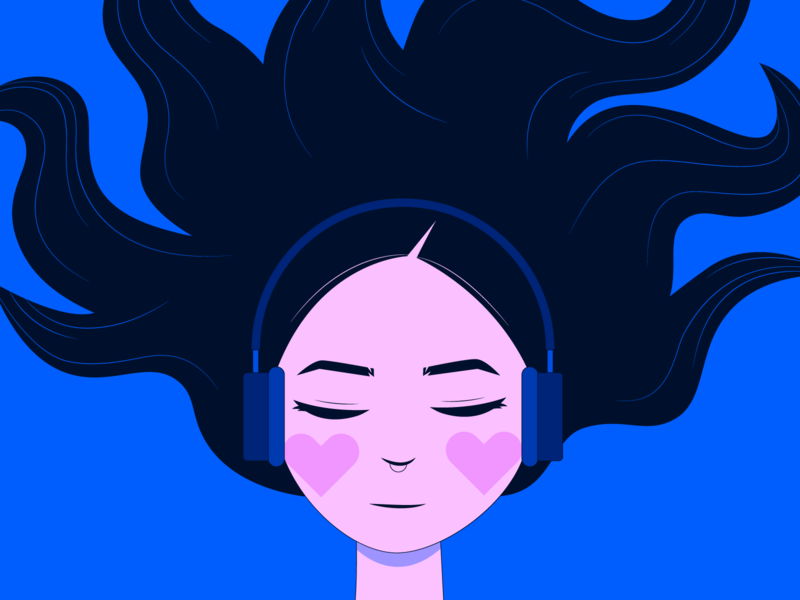 ✨🎧✨ hair blush girl lying down headphones self portrait flat character design character illustration