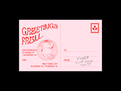 Team Postcard handwriting signature typography print design stamp duotone globe postcard mongodb