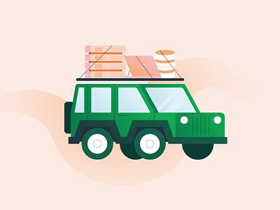 beep beep road trip computer illustration server database tech mongodb jeep car