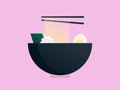 Ramen 🍜 chopsticks flat food noodles illustration ramen