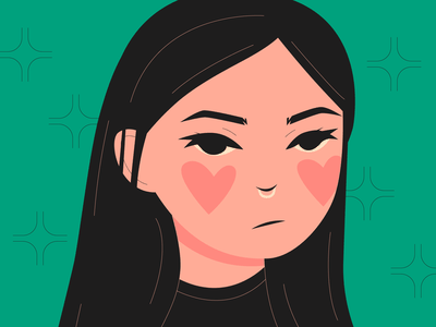 😒 portrait blush mad flat face unamused angry woman girl character illustration