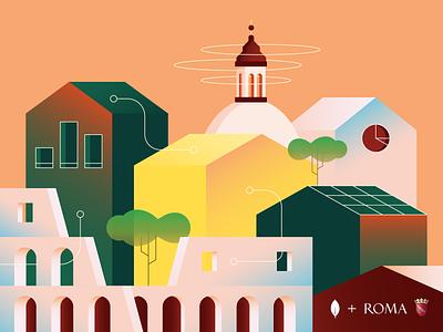 The smart city of Rome colosseum data buildings italy mongodb illustration smart city tech city rome