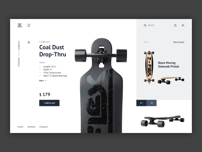 2.0 Concept shop shop design white black layout ecommerce uiux dribbble userexperience store ui design ux design ux skateboard ui design