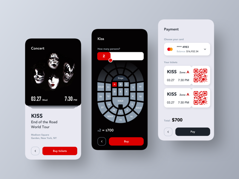 Event Application - Concept payment kiss tickets uiux inspiration dribbble concept ui design layout ux design ux ui design