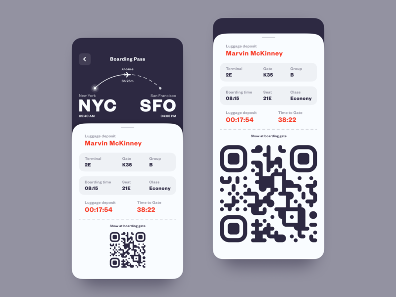 Mobile Boarding Pass flight booking booking flight boardingpass pass boarding dark ux mobile interaction android interface app ios design ui