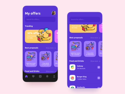 Discount App digital special offer coupons purple deals proposals offers discount illustration ux mobile interaction android interface app ios design ui