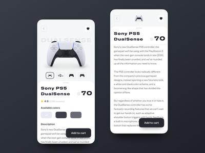Gadget E-commerce Store. iOS Mobile App 3d light gadget ecommerce store online store online ps5 dualsense add to cart dark ux mobile interaction android interface app ios design ui