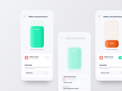 Battery and Performance Settings light power saver switch saver power scenarios perfomance settings battery concept illustration ux mobile interaction android interface app ios design ui